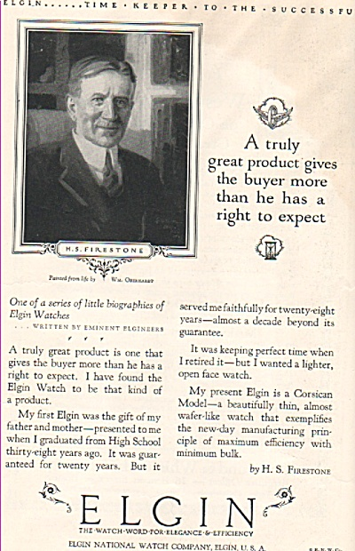 Elgin Watches Ad 1926