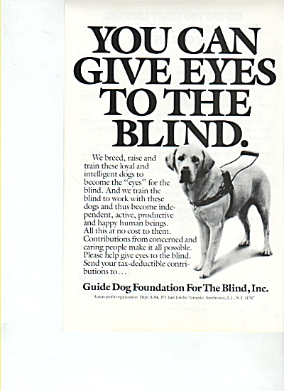 Guide Dog Foundation for theBlind, Inc., ad 1986 (Image1)