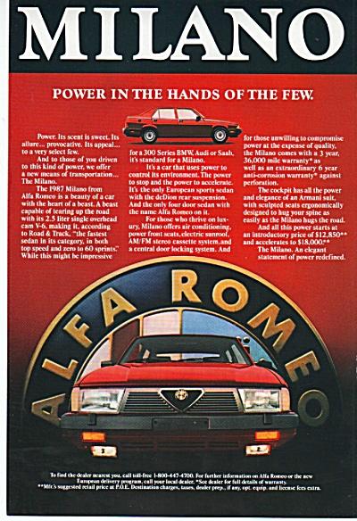 Alfa Romeo auto ad 1986 (Image1)