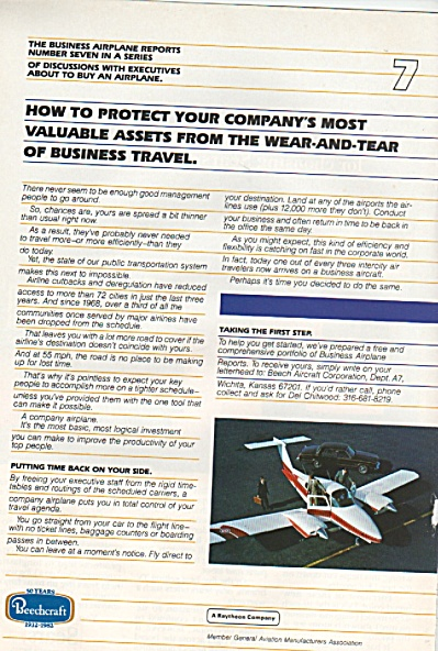 Beechcraft airplane ad 1982 (Image1)