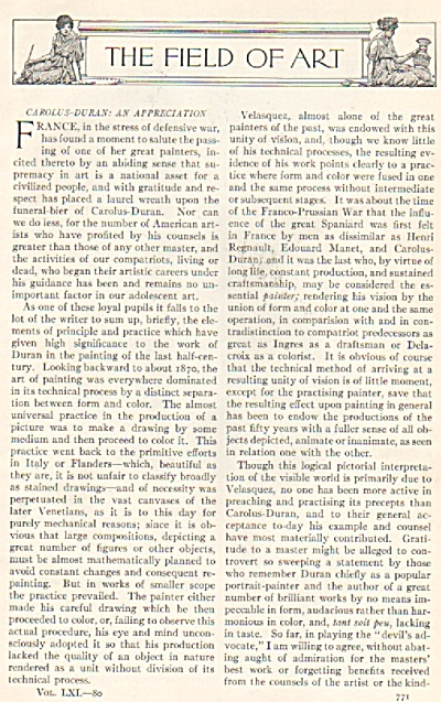 The Field Of Art - 1917 Article