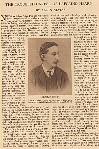The Troubled Career Of Lafcadio Hearn - 1925