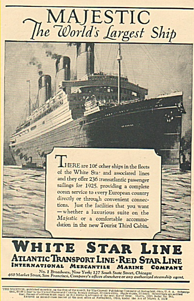 White Star Line Ad - 1925