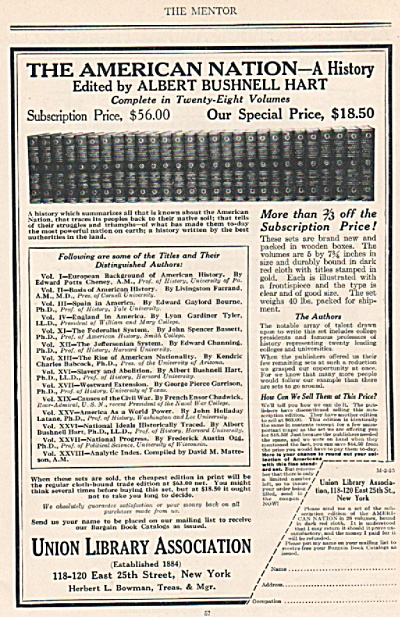 Union Library Association Ad 1925