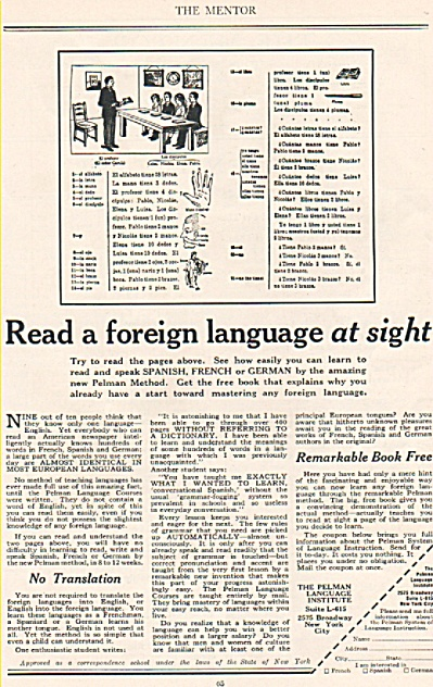 The Pelman Language  Institute ad 1925 (Image1)