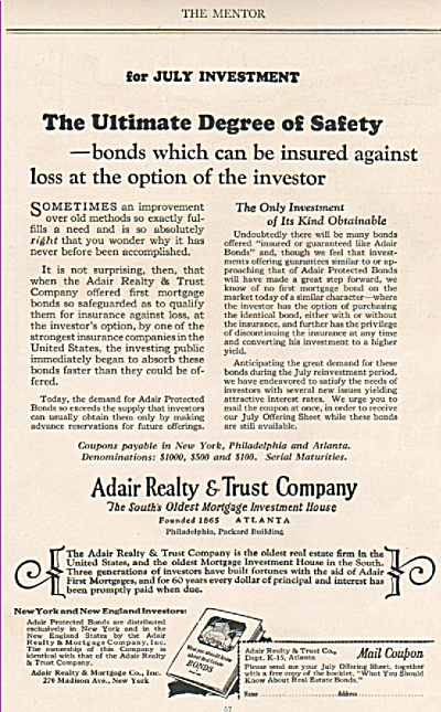 Adair Realty & Trust Company Ad 1925