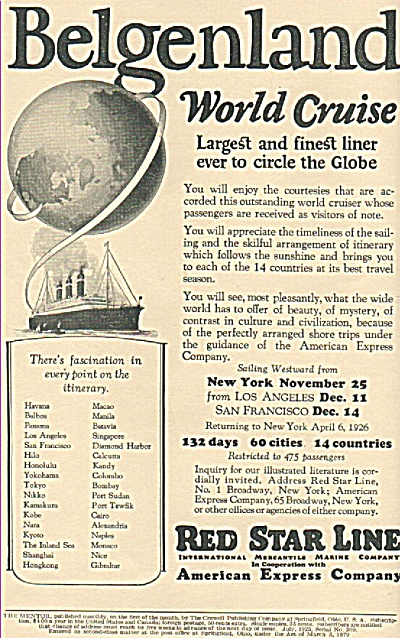 Red Star Line -American express co., ad 1925 (Image1)