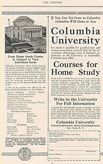 Columbia University Home study dept., ad 1925 (Image1)