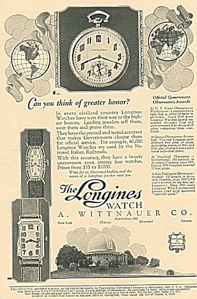 The Longines Watch Ad 1925 Greatest Honor