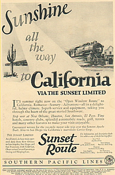 Southern Pacific Lianes - Sunset Route Ad 1925