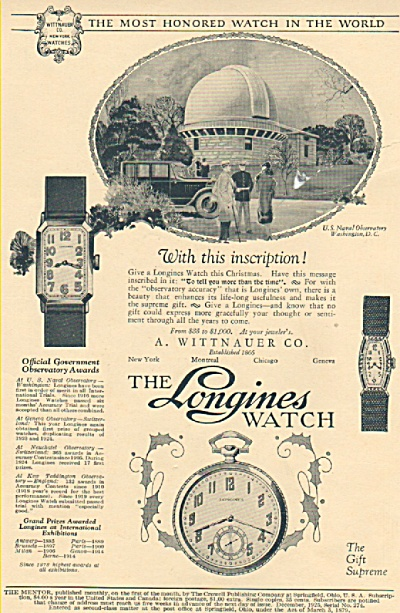 The Longines Watch Ad 1925