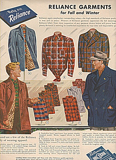 Reliance Manufacturing Company Garments ad (Image1)