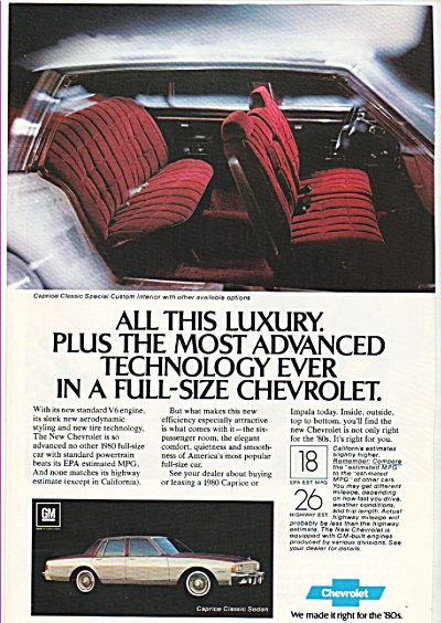 Chevrolet Caprice auto ad 1980 (Image1)