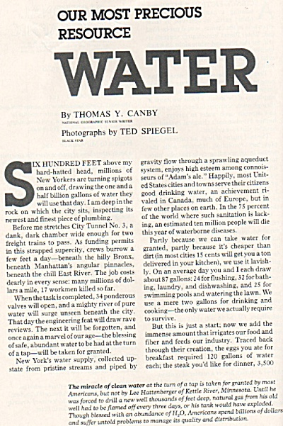 Our Most Precious Resource: Water Story 1980