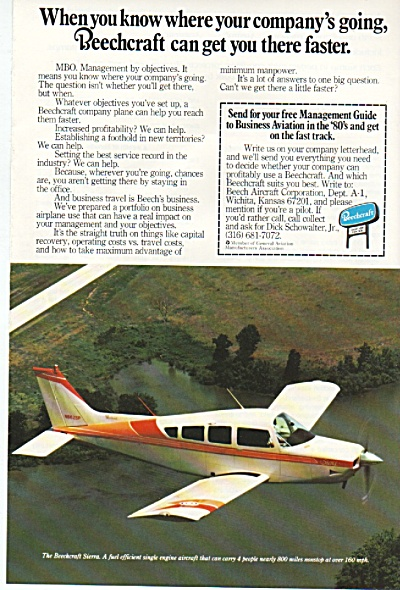 1980 BEECHCRAFT AIRPLANE AD 1980 (Image1)