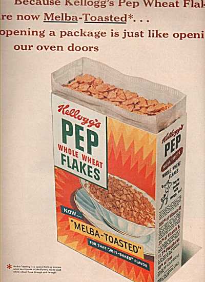 Kellogg's Pep Whole Wheat Flakes Ad 1953