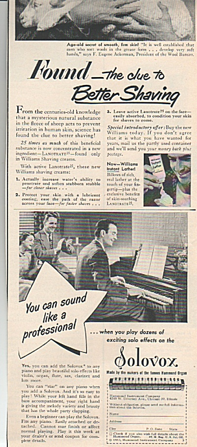 Solovox  organ -  William instant lather ad 1953 (Image1)