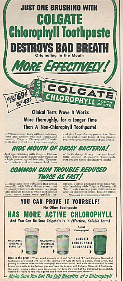 Colgate Chlorophyll Toothpaste Ad 1953