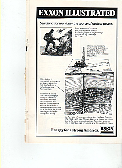 1978 Exxon Ad - Searching For Nuclear Uranium