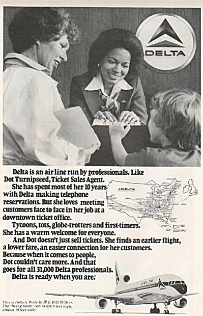 Delta Airlines Ad 1978 Dot Turnipseed