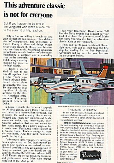 Beechcraft Aircraft Ad 1972