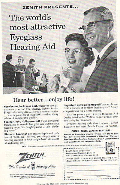 Zenith Hearing Aids Ad 1957