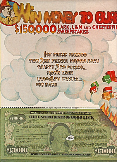 Lark, L & M. & Chesterfield sweepstakes ad 1970 (Image1)