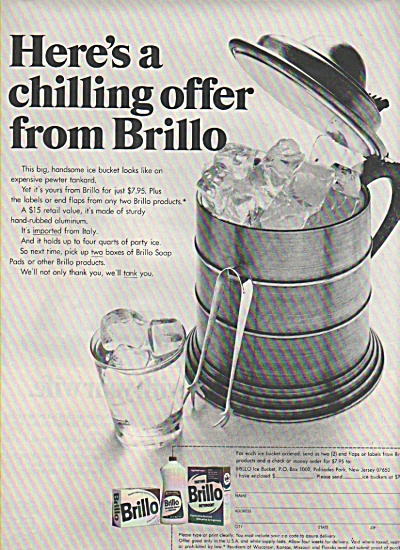 Brillo deetergent -  Brillo ice bucket.  1970 (Image1)