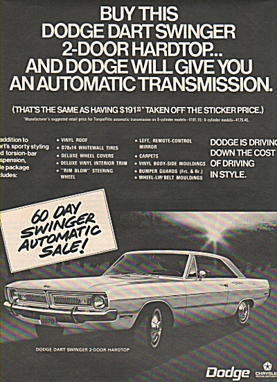 Dodge Dart Swinger Ad 1970