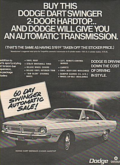 Dodge Dart Swinger ad  1970 (Image1)