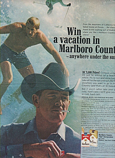 Marlboro cigarettes ad 1969 SURFER COWBOY (Image1)