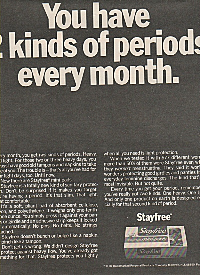Stayfree mini pads ad 1970 (Image1)