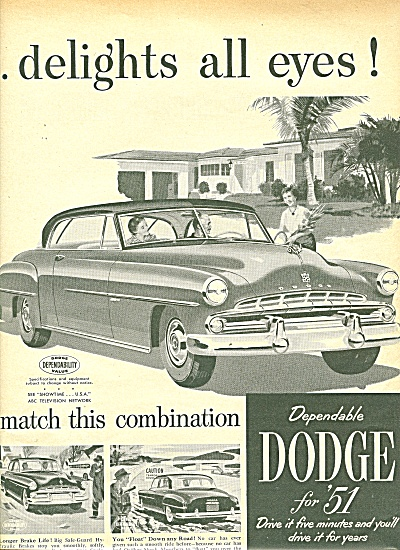 Dodge automobile ad for 1951 TWO PAGES (Image1)