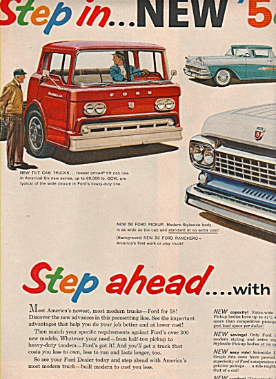 Ford Trucks ad 1957 STEP AHEAD (Image1)