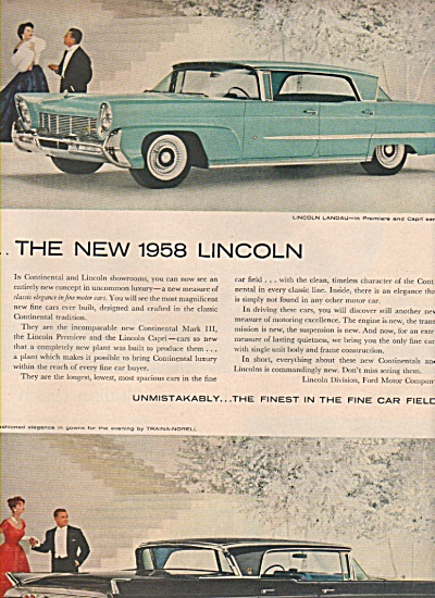 Lincoln Landau auto ad  for 1958 (Image1)
