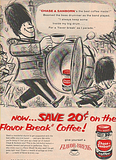 Chase & Sanborn instant coffee ad 1957 DRUM MAJOR (Image1)