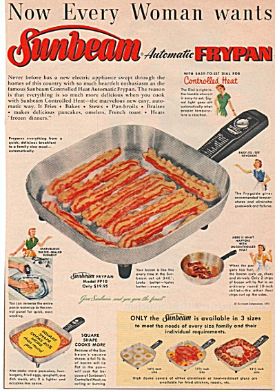 Sunbeam Automatic Frypan Ad 1955
