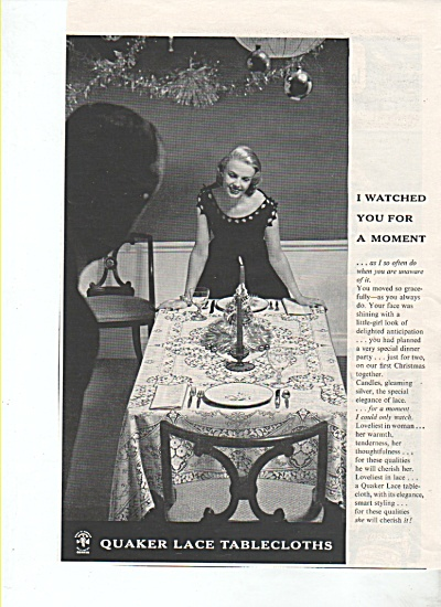 Quaker Lace tablecloths ad 1955 (Image1)