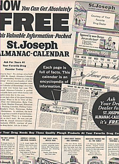 St. Joseph almanac-Calendar ad 1957 (Image1)