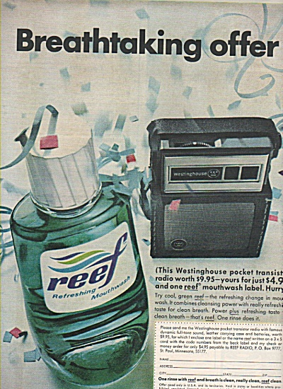 Reef refreshing mouthwash ad 1967 (Image1)