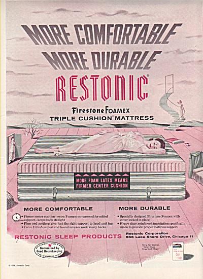 Restonic firestone foamex mattress ad  1956 (Image1)