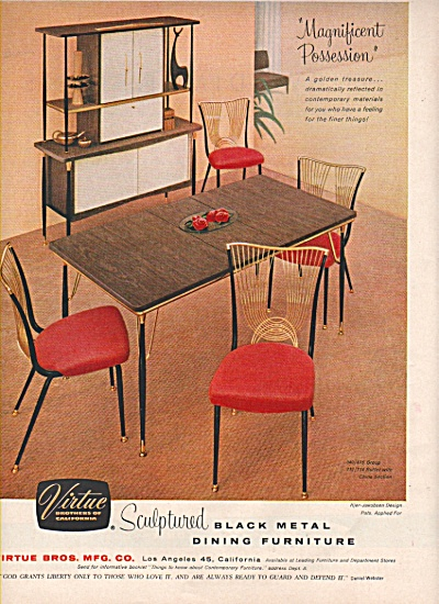 Virtue sculptured dining furniture ad 1956 (Image1)