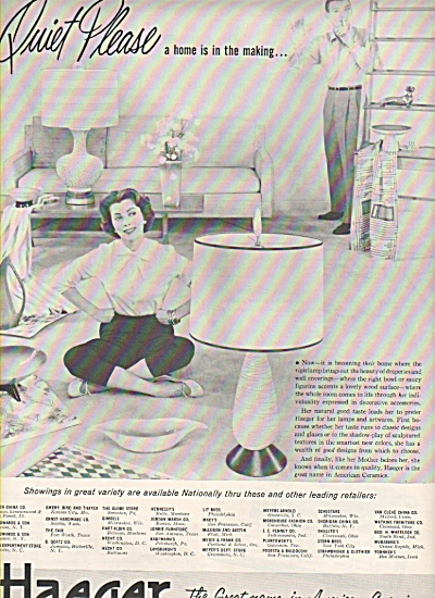 Haeger Ceramics ad 1956 LAMPS ARTWARE (Image1)