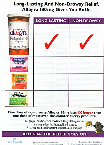Allegra medication ad 2005 (Image1)