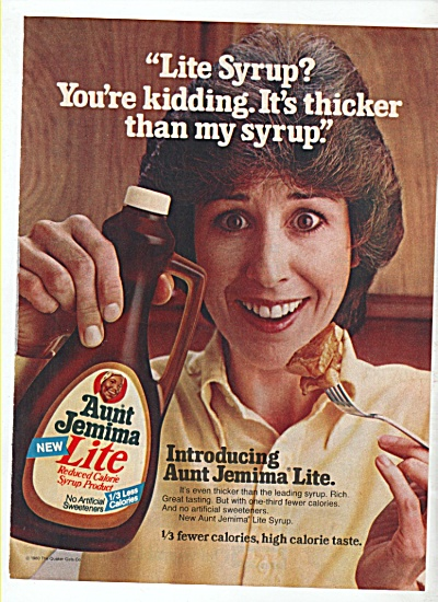 Aunt Jemima Life syrup ad 1981 (Image1)
