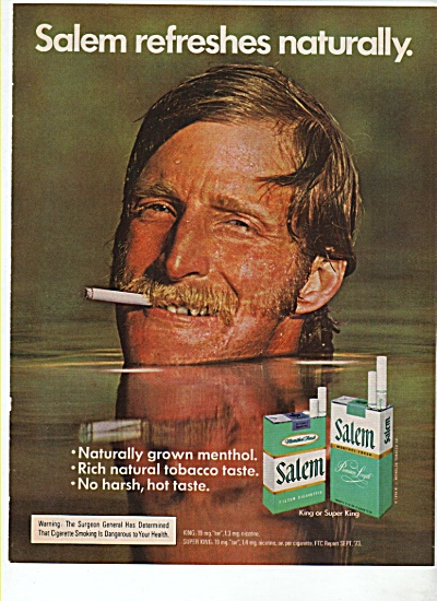 Salem cigarettes ad 1974 WEIRD MAN IN WATER (Image1)