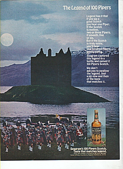 Seagram's 100 Pipers Scotch Ad 1969