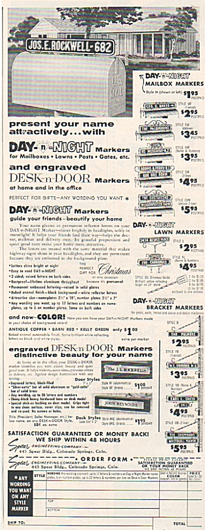 Mailbox markers ad 1956 (Image1)