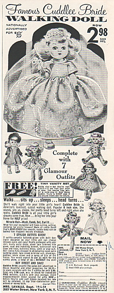 Cuddlee bride walking doll ad 1956 (Image1)