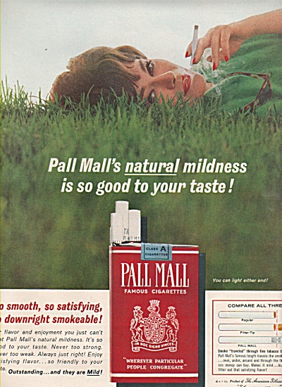 Pall mall famous cigarettes ad 1963 FASHION MODEL (Image1)